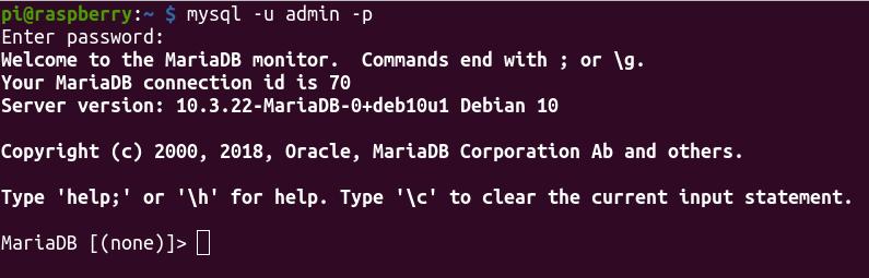 MySQL (MariaDB) Login console